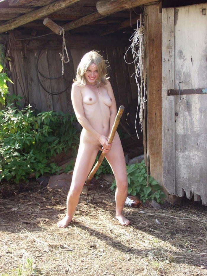 Russian Blonde Girl From Country With Hairy Pussy Outdoors -1739