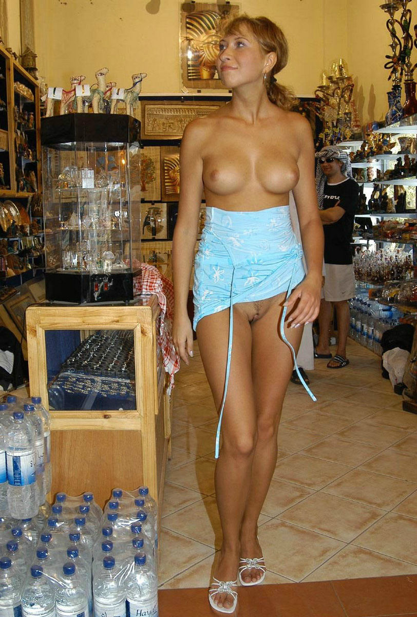 Russian Slut Allowed To Touch Her Pussy To Arab At Shop In -2020