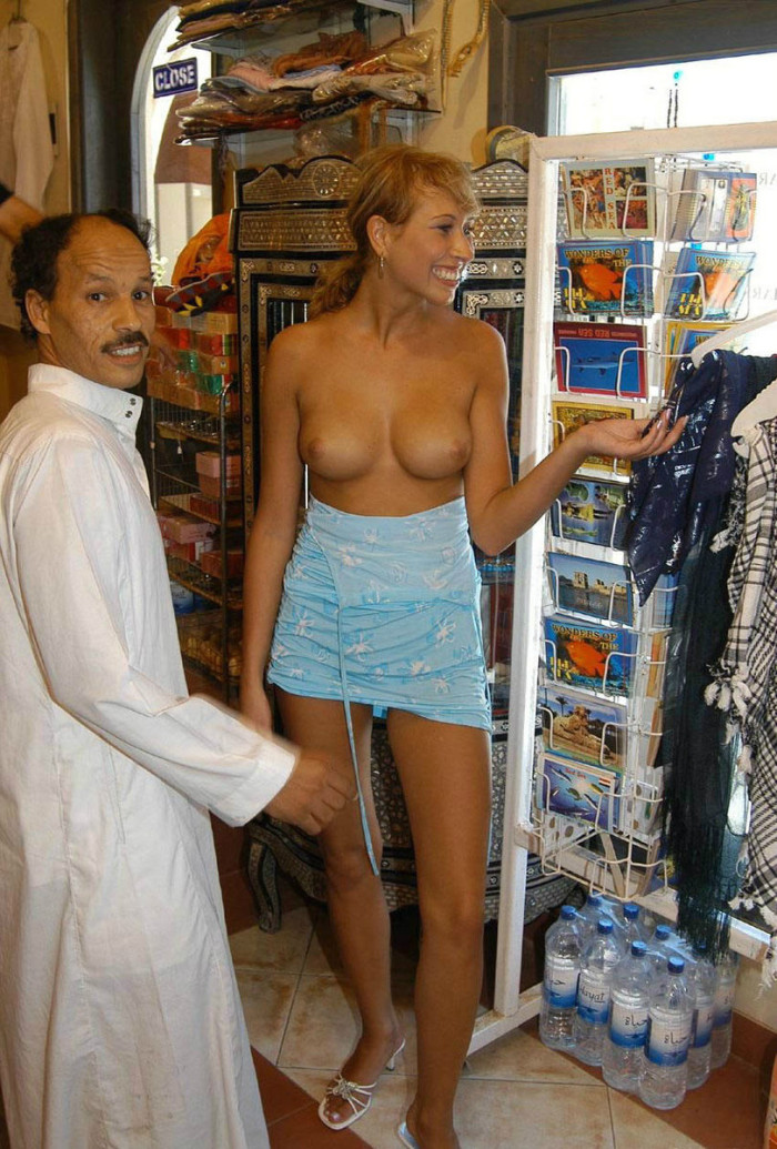 Think, nude woman in adult store