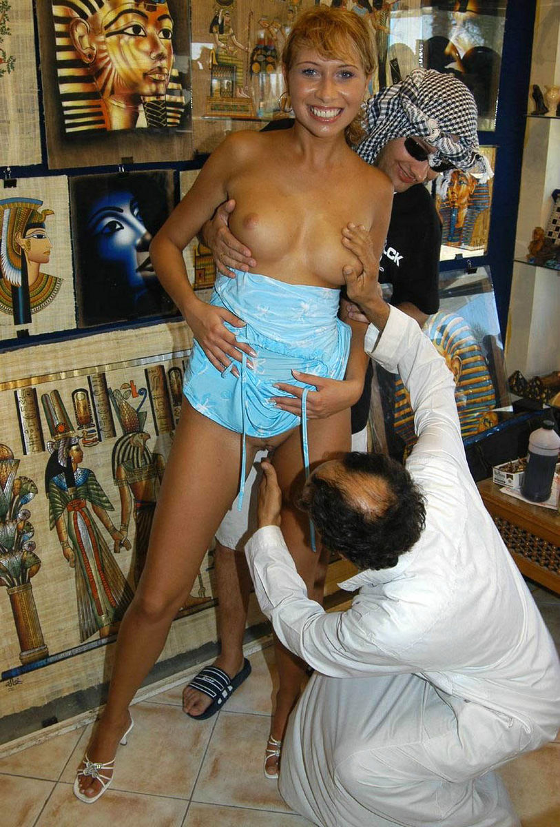 russian slut allowed to touch her pussy to arab at shop in egypt
