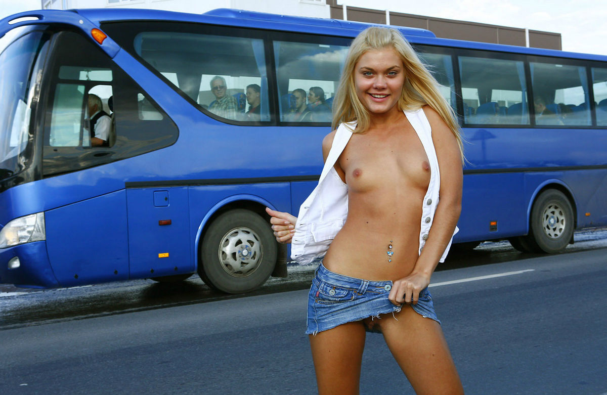 Shameless Blonde Flashes Her Tits To Traffic Jam  Russian Sexy Girls-6917