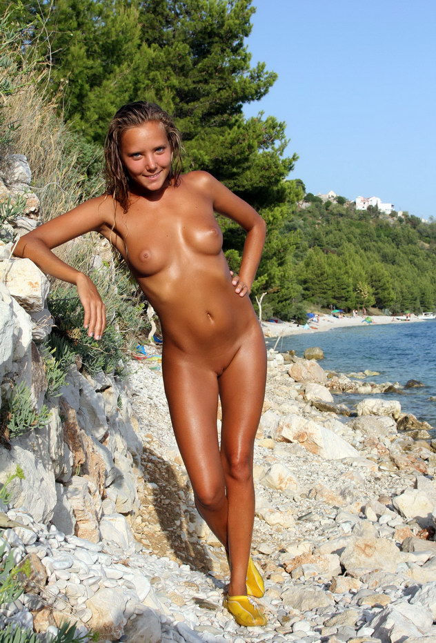Sexy Teens Tanning On Beach Naked