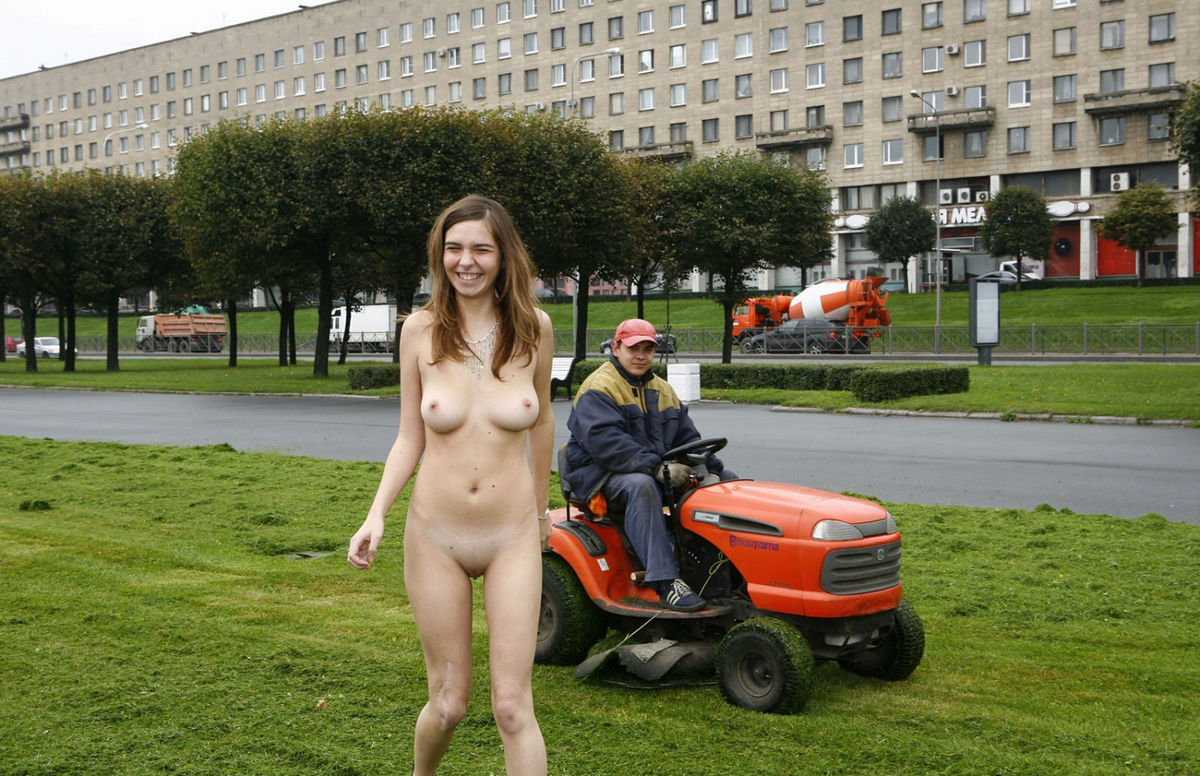 On lawnmower girl naked a