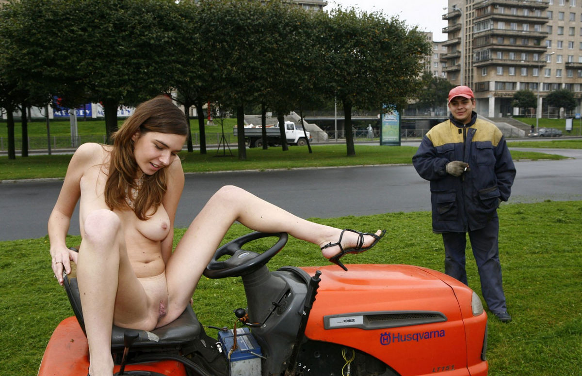 girl naked on riding mower