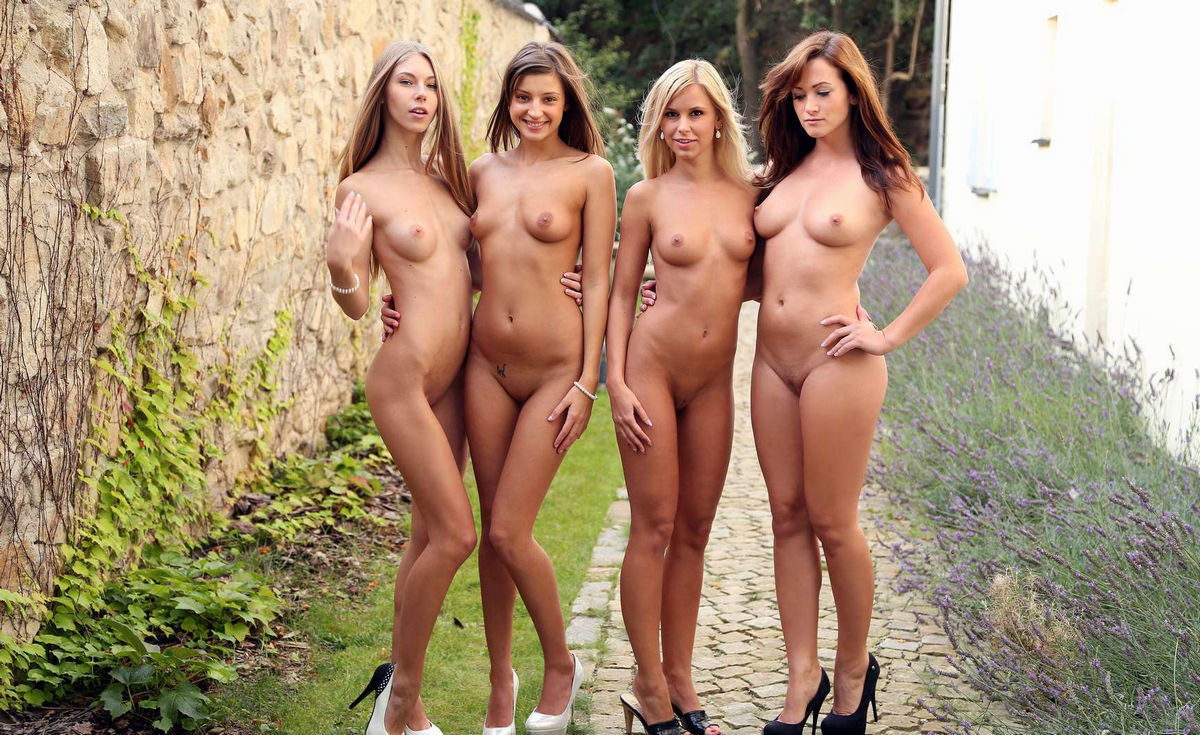 Naked girl on all four all