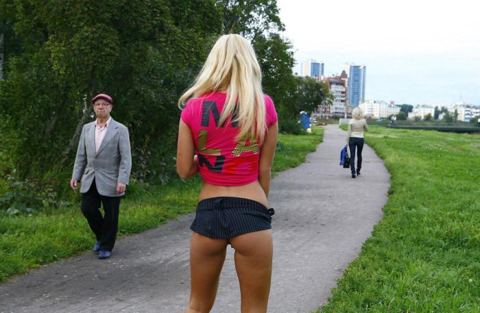 Girls lift skirt