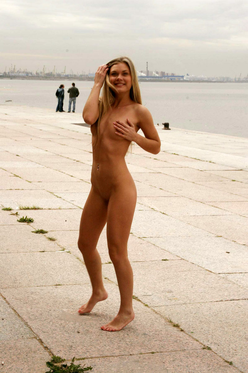 Fragile Blonde With Large Labia Naked On The Pier -3978