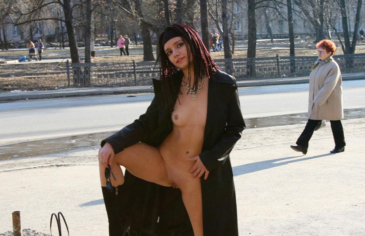 Open coat full frontal nudity