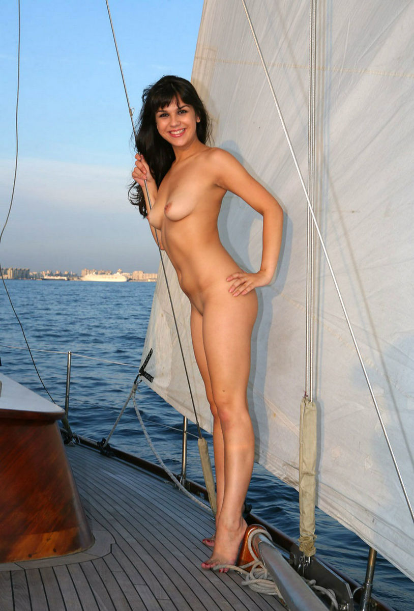 Naked women on a boat