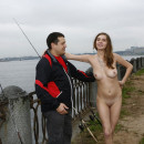 Naked busty bitch decided to help the fisherman