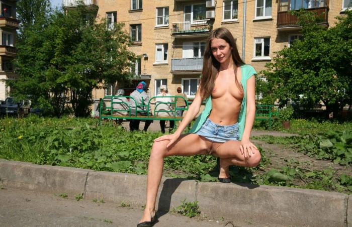 Without panties miniskirt