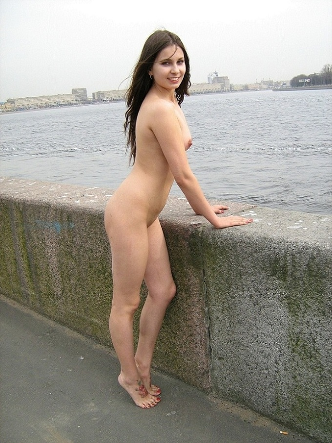 Nude girl in public places
