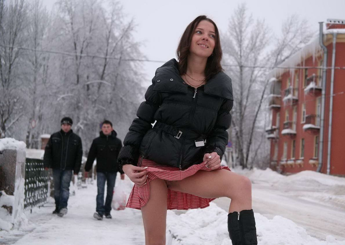 upskirt session of young russian girl at winter russian sexy girls