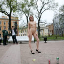Crazy naked russian teen posing absolutely naked in front of strangers