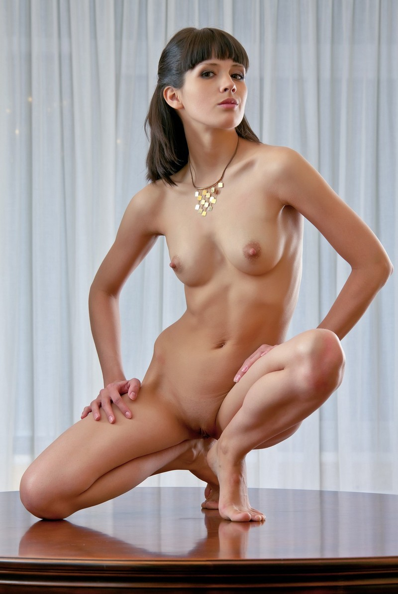 Brunette With Bangs Posing Naked On The Table  Russian -3947