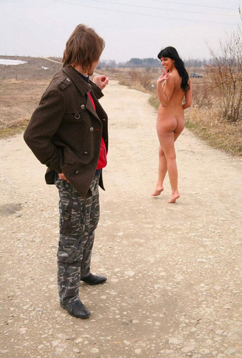 Busty Brunette Posing Naked With Stranger At The Wasteland -9856