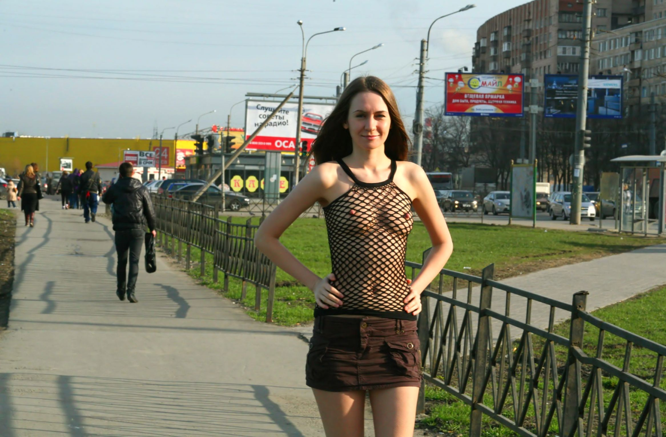 Crazy Russian Beauty In A Transparent Top With Nipples Standing In A -6915