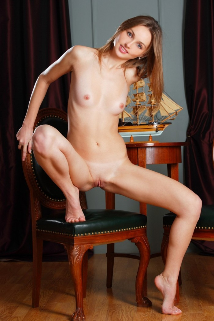 Excellent Tall Girl Posing On Expensive Chairs  Russian -6305