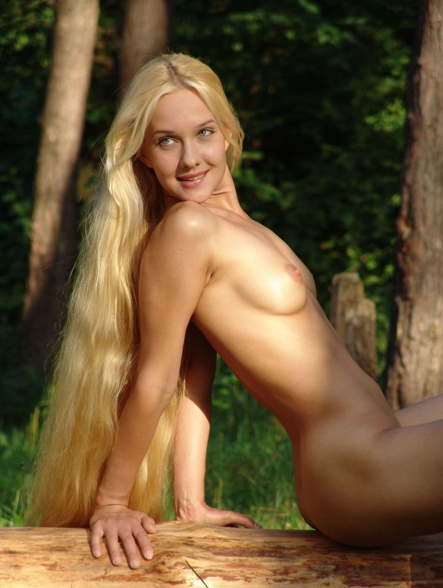 girl with very long hair and shaved pussy at forest | russian sexy girls