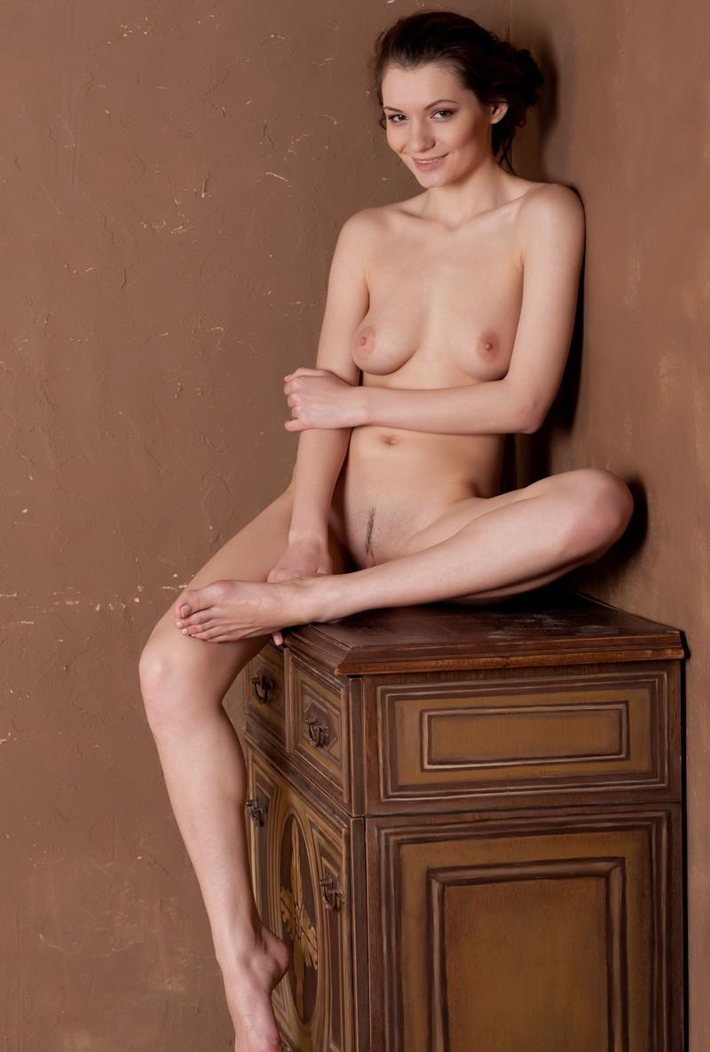 Naked Girl Is Photographed Near The Old Dresser  Russian -3696