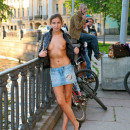 Shameless russian teen with sporty body in front of strangers