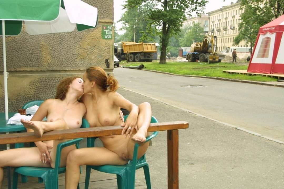 Two Busty Blondes Posing Absolutely Naked At Very Public -2740