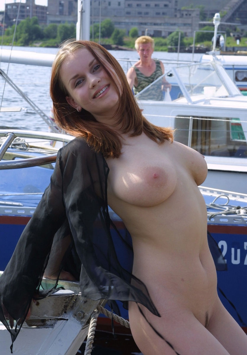 Very Busty Russian Girl Posing At Public Pier  Russian -2448