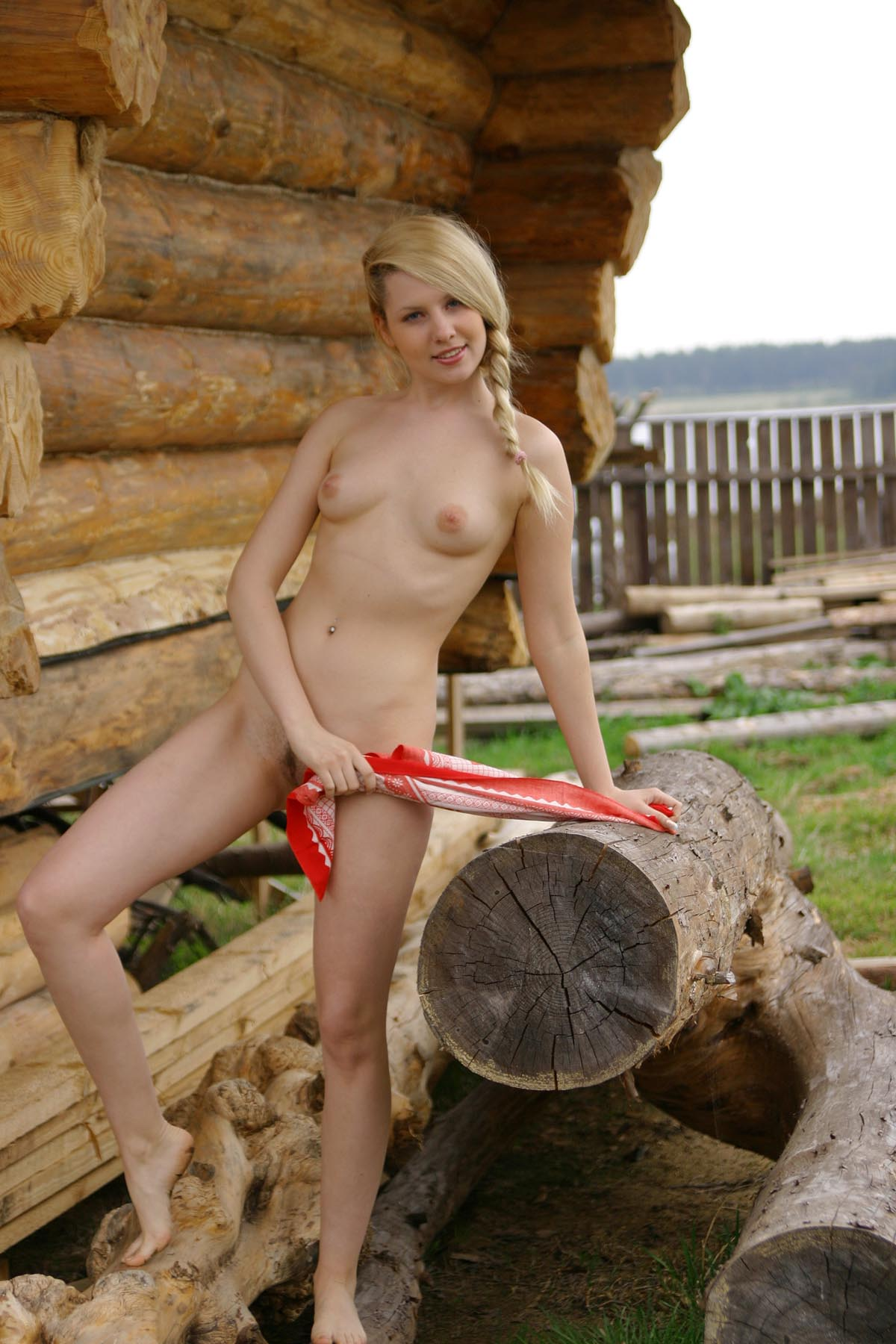 Blonde girl with piercing at village | Russian Sexy Girls