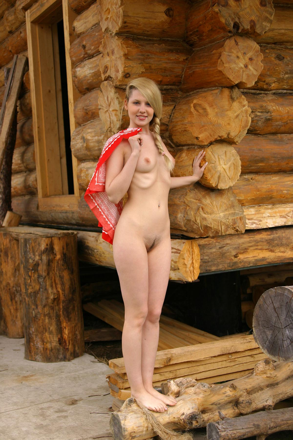 Blonde girl with piercing at village   Russian Sexy Girls