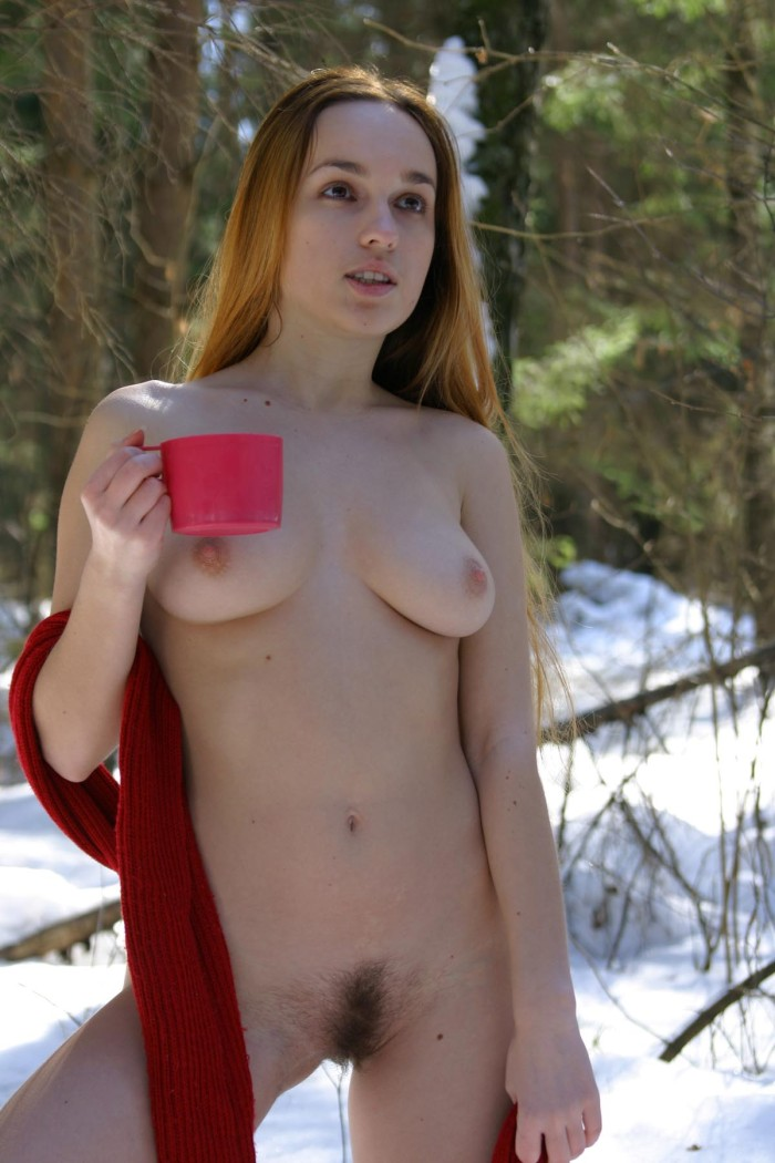 Blonde With Long Hair Posing Naked At Winter Forest -1725