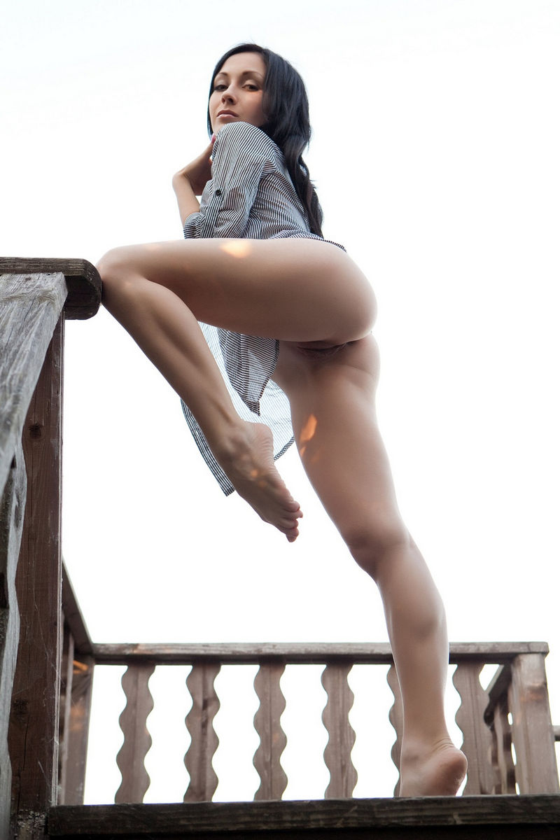 Naked Brunette In A Mans Shirt In An Old House  Russian -7056
