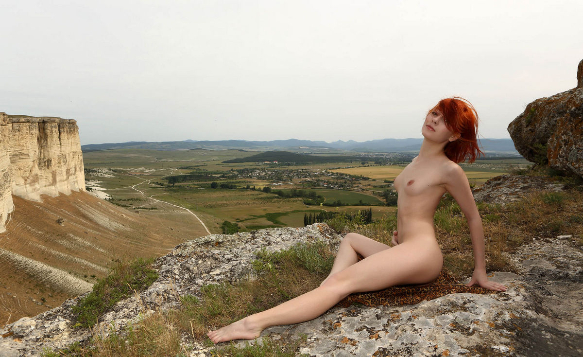 Naked Red-Haired Woman On Top Of A Sheer Cliff  Russian Sexy Girls-6262