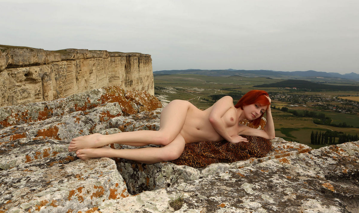 Naked Red-Haired Woman On Top Of A Sheer Cliff  Russian Sexy Girls-8809