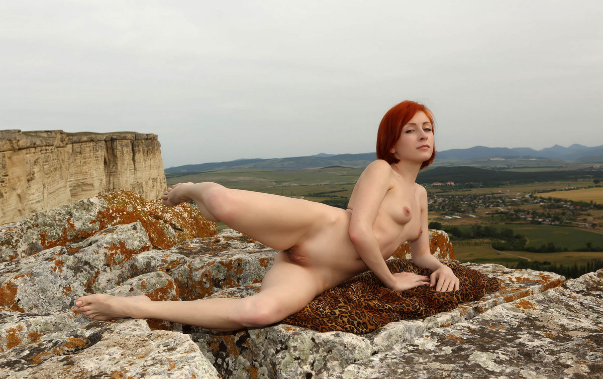 Naked Red-Haired Woman On Top Of A Sheer Cliff  Russian Sexy Girls-6821