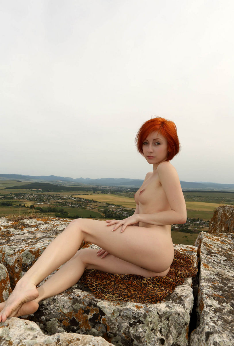 Naked Red-Haired Woman On Top Of A Sheer Cliff  Russian -8940