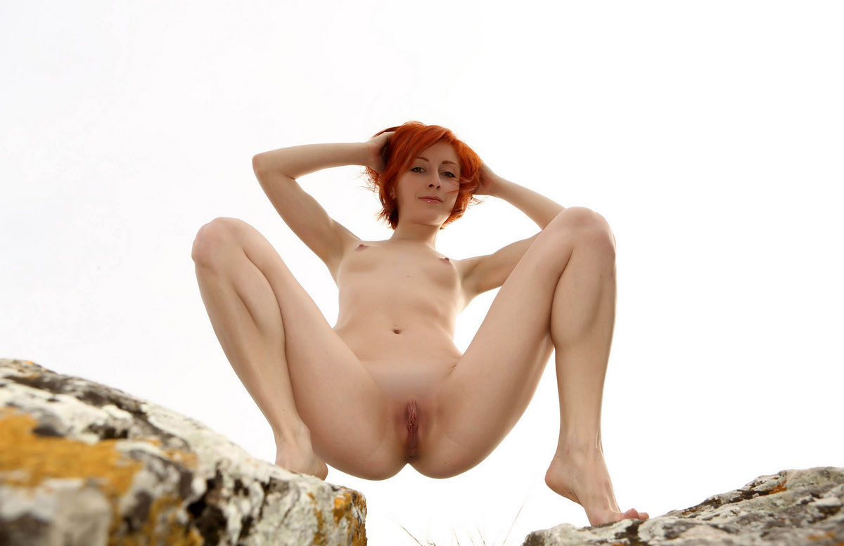 Naked Red-Haired Woman On Top Of A Sheer Cliff  Russian -9251