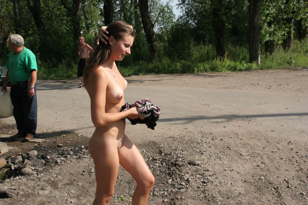 Russian beauty playing with water at public | Russian Sexy ...