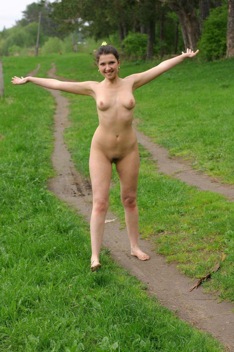 Walking Naked In Woods