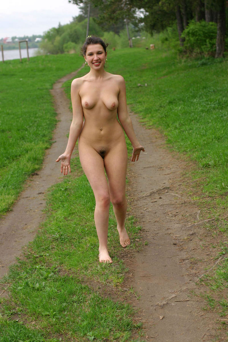 Girl walking around naked outdoors