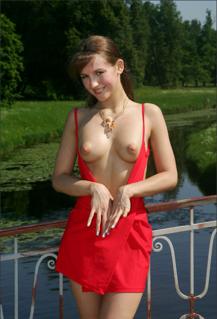Russian Girl In A Nice Red Dress In The Park  Russian -8640