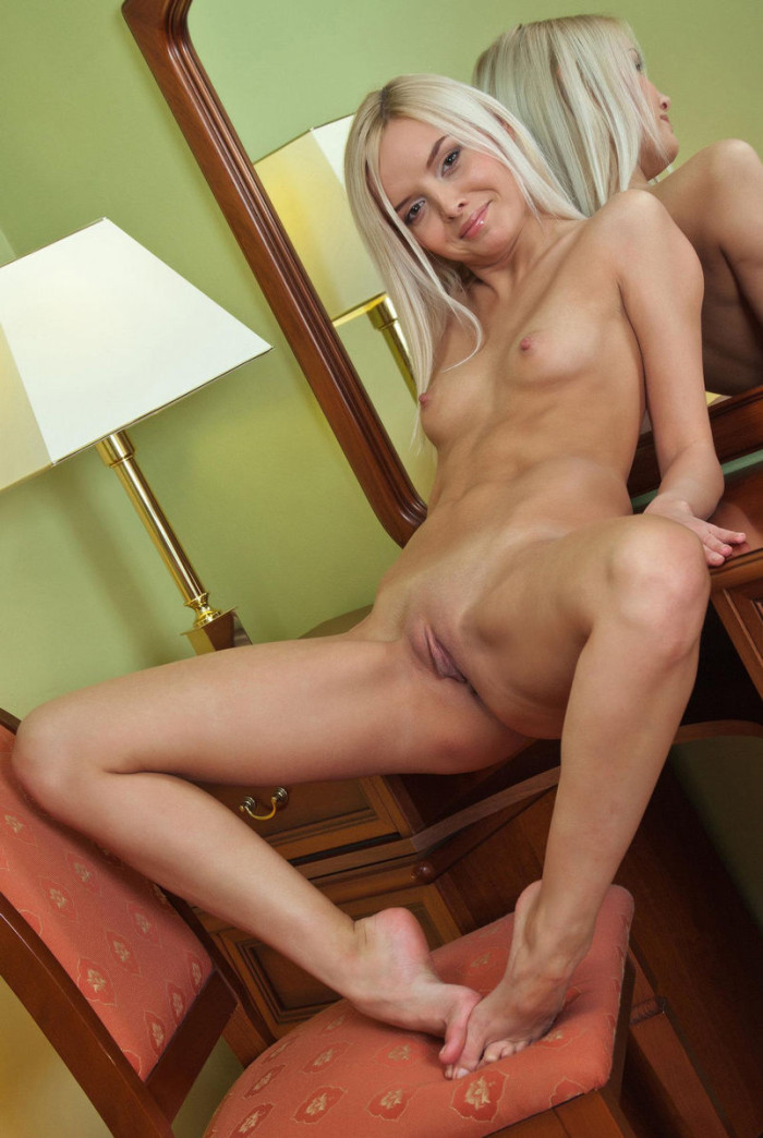 hot blonde with legs spread