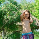 Skinny russian teen with small tits at country