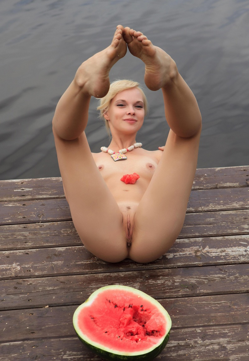 Hot Session With Blonde And Watermelon Outdoors  Russian -3601