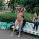 Shameless russian teen slut walks naked before strangers at park