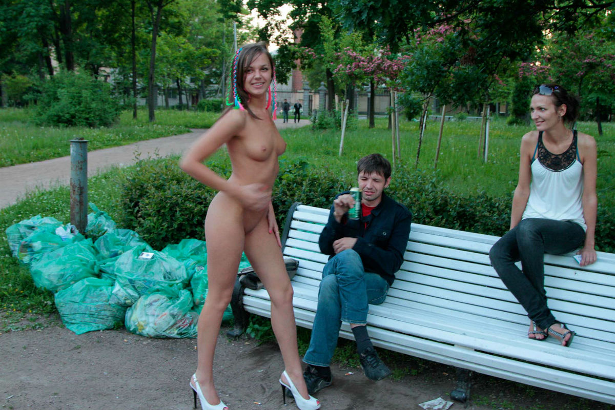 walking naked in the park