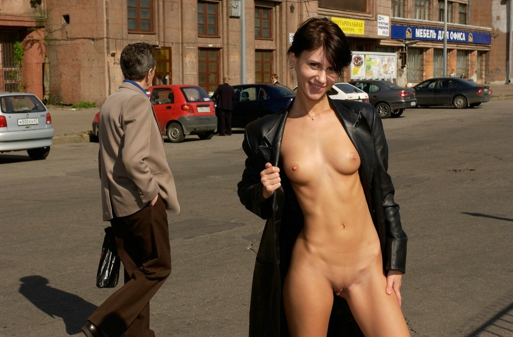 sexy naked brunette in public