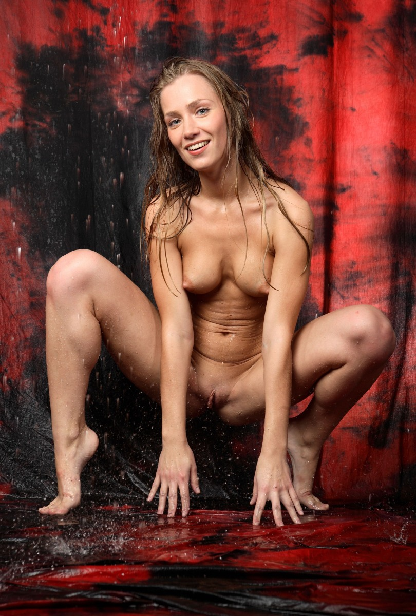 Tall Smiling Blonde Under The Rain In Studio  Russian -6851