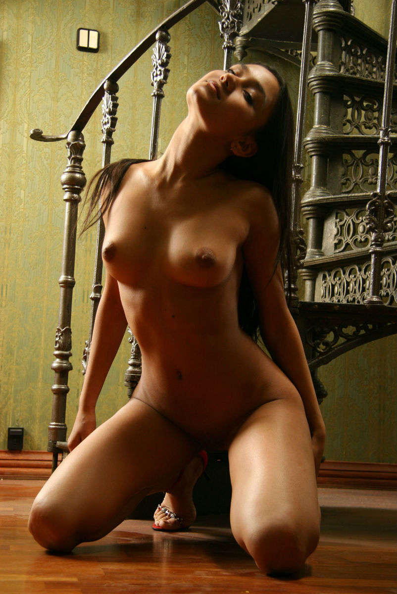 Teen Brunette With Tanned Skin On Spiral Staircase -8972