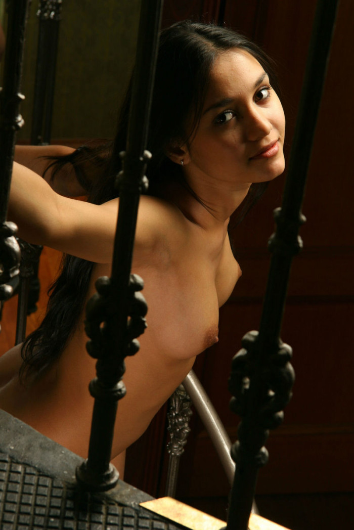 Teen Brunette With Tanned Skin On Spiral Staircase -4498