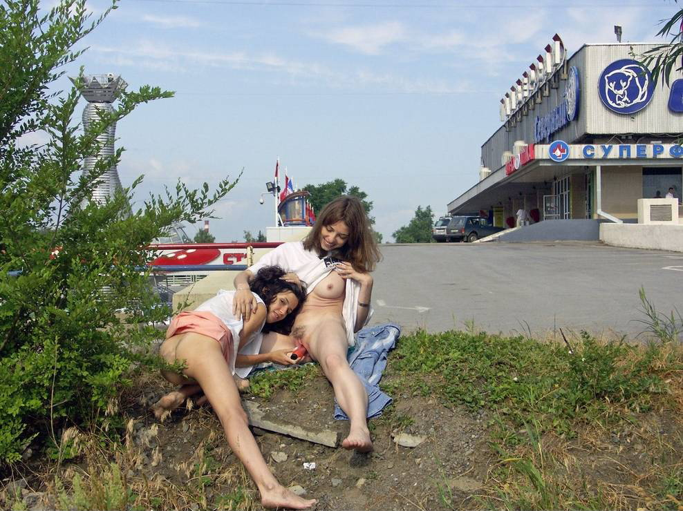 two lesbians playing with dildo at public places russian